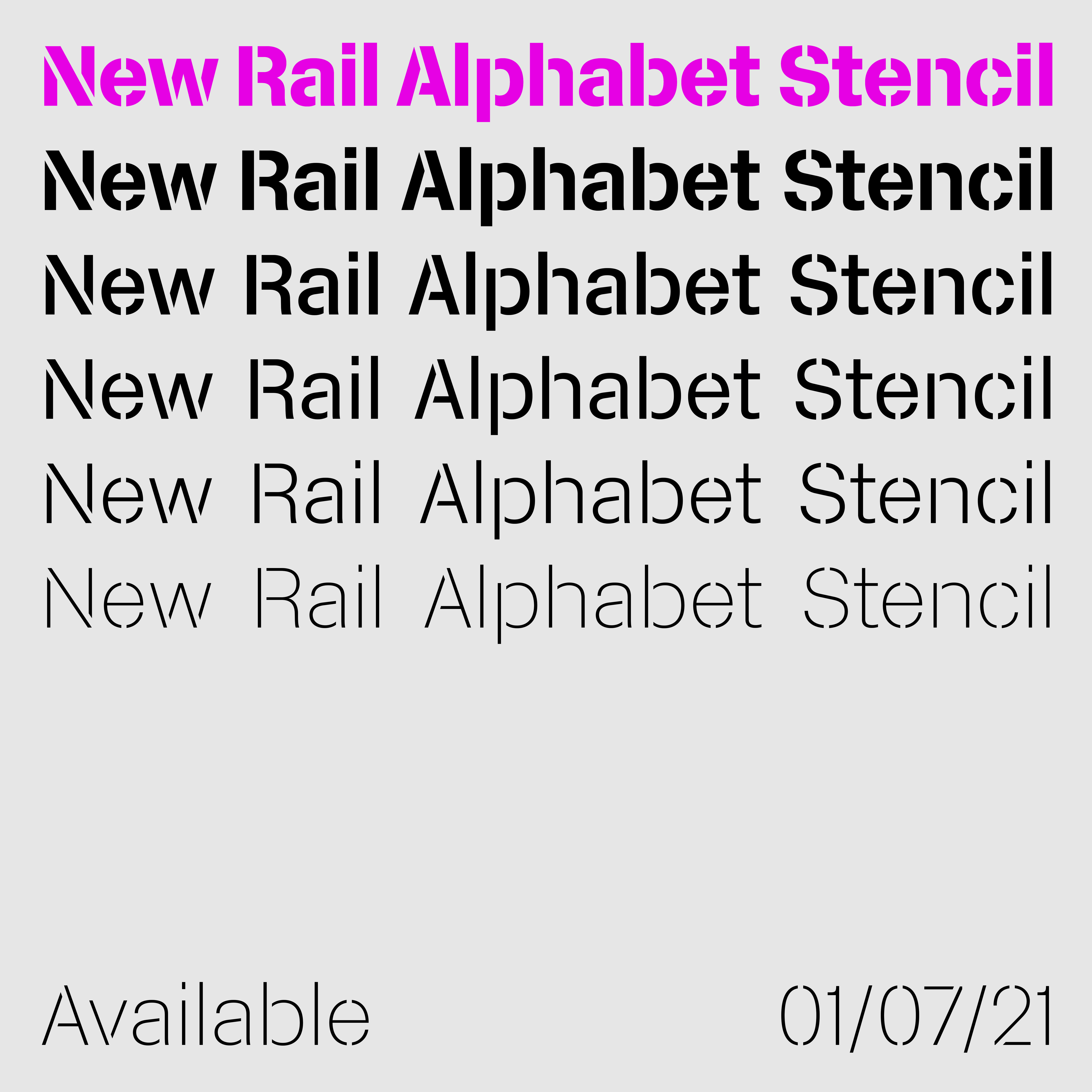 New Rail Alphabet Stencil sample