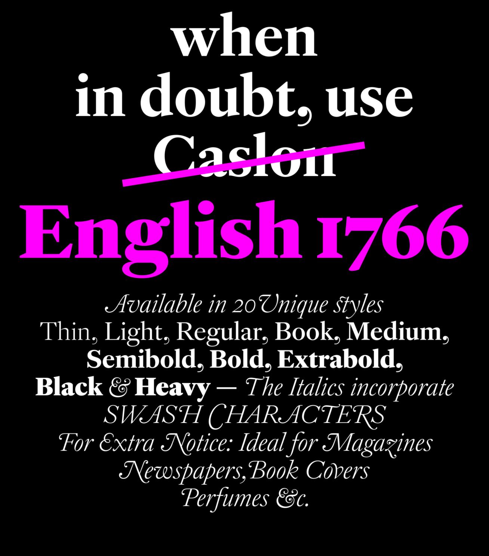 motorola 1766. english 1766: key features: sharp triangular serifs, large x-height, advanced language support, extensive weight range (20 styles), swash characters, motorola 1766